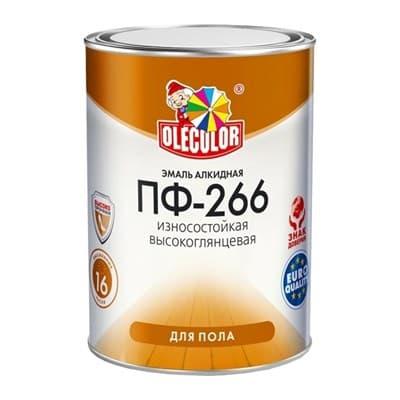 Эмаль OLECOLOR ПФ-266 для пола красно-коричневая 0,9кг - фото 11183