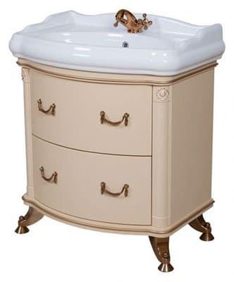 Тумба для ванной комнаты АРТ ДЕКО 80 с умывальником айвори - фото 5102