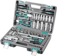 Набор инструментов STELS пластиковый кейс 1/2, 1/4 CrV 64 предм. 14108