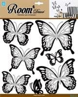 Элемент декоративный ROOM DECOR Многослойные бабочки с серебр. блесткам REA 5001